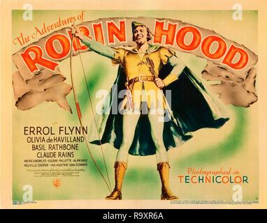 Les aventures de Robin des Bois (Warner Brothers, 1938). Hall de l'affiche Titre de carte / Lobby Card Errol Flynn référence # 33635_965THA Banque D'Images