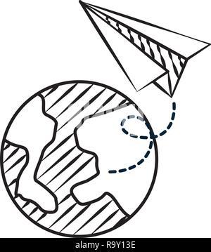 La planète Terre et paper plane doodles Banque D'Images