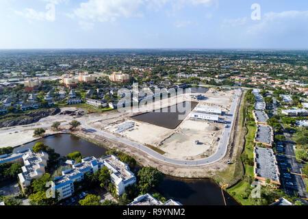 Floride Fort Ft. Lauderdale Weston vue aérienne au-dessus d'oiseau du site en construction de logements nouveaux de développement économique de quartier Banque D'Images