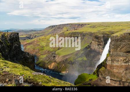 Beaux paysages de l'Islande, cascade de Haifoss Banque D'Images