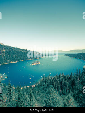 Emerald Bay Lake Tahoe en Californie avec un effet vintage Banque D'Images