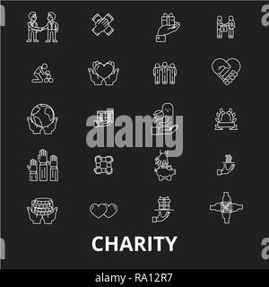 Ligne modifiable charité icônes vector set sur fond noir. La charité contour blanc illustrations, signes, symboles Banque D'Images