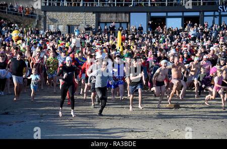 Lyme Regis, dans le Dorset. 1er janvier 2019. Démarrer, fente de Lyme, New Years nager, Lyme Regis, dans le Dorset Crédit: Finnbarr Webster/Alamy Live News Banque D'Images