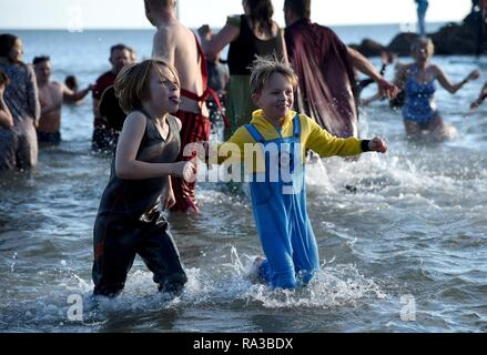 Lyme Regis, dans le Dorset. 1er janvier 2019. Fente de Lyme, New Years nager, Lyme Regis, dans le Dorset Crédit: Finnbarr Webster/Alamy Live News Banque D'Images