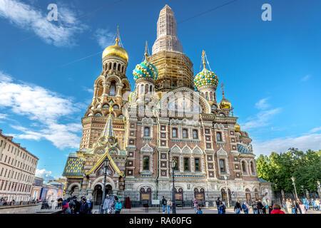 Saint Petersburg, Russie - 8 juin 2018 - Le Sauveur sur le Sang Versé, l'église l'église principale de Saint-Pétersbourg dans un ciel bleu jour en Russie Banque D'Images