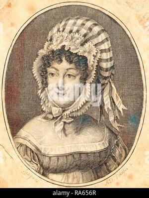 Augustin de Saint-Aubin, français (1736-1807), chef d'une femme portant un bonnet à rayures, la gravure. Repensé