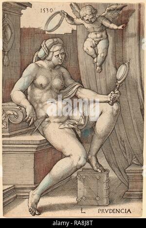 Lucas van Leyden (1489-1494, Russisch - 1533), Mmes Prudencia (prudence), 1530, gravure. Repensé Banque D'Images