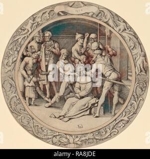 Lucas van Leyden (1489-1494, Russisch - 1533), la moquerie du Christ, 1509, gravure. Repensé Banque D'Images