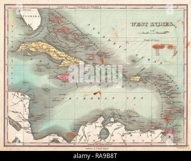 1827, Finley Site des Antilles, Caraïbes, Antilles, et Anthony Finley cartographe de l'Organisation des États de la repensé