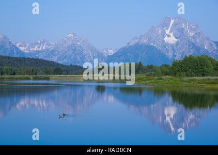 Mont Moran de Oxbow Bend, Snake River, du Parc National de Grand Teton, Wyoming, États-Unis d'Amérique, Amérique du Nord