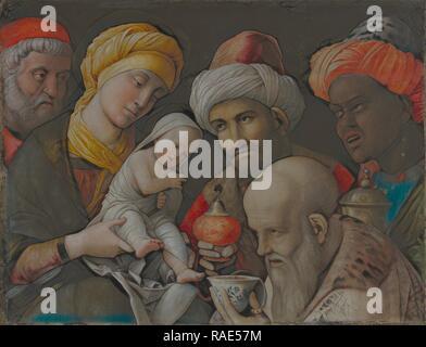 Adoration des Mages, Andrea Mantegna (Padoue), Italien (environ 1431 - 1506), l'Italie, environ 1495 - 1505, le Spleen sur repensé Banque D'Images