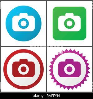 Appareil photo vector icon set. Modèle plat web icons en eps 10. Les boutons internet coloré en 4 versions Banque D'Images
