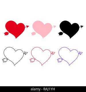 Ensemble d'icônes différents coeurs percés d'une flèche isolé sur fond blanc. Les éléments d'un mariage ou une carte de vœux de la saint valentin. Lovestruck Banque D'Images