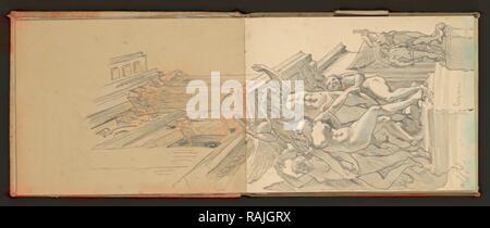 Sketchbook, Preziosi, Amadeo, 1816-1882, crayon gris, blanc, lavage, la surélévation, 1875 sketchbook par artiste maltais repensé Banque D'Images