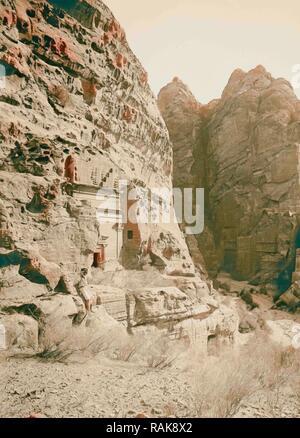 Petra en Transjordanie, tombes à l'entrée ouest de la SIK 1900, Jordanie, Petra (éteint). Repensé Banque D'Images