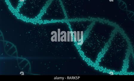Les molécules de DNA helix abstract 3D illustration. La biotechnologie, la génétique et la science concept. Arrière-plan de la nouvelle technologie. Banque D'Images
