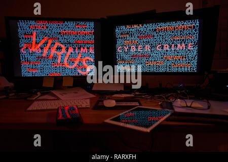 Espace de travail sur lequel Hacker voler d'énormes ensembles de données privées de la part de politiciens, journalistes, artistes et célébrités en Allemagne et publié tout sur l Banque D'Images