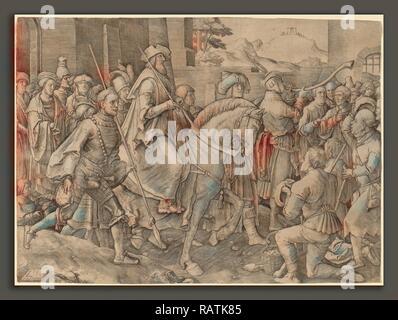 Lucas van Leyden (1489-1494, Russisch - 1533), le triomphe de Mardochée, 1515, gravure. Repensé Banque D'Images