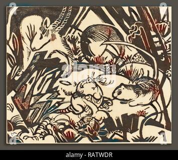 Franz Marc, Légende des animaux (Tierlegende), allemand, 1880 - 1916, 1912, xylographie sur papier Japon. Repensé Banque D'Images