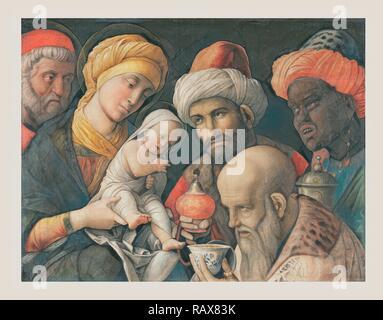 Adoration des Mages, Andrea Mantegna, (Italien) Padoue, à propos de 1431 - 1506, environ 1495 - 1505, le Spleen sur lin repensé Banque D'Images