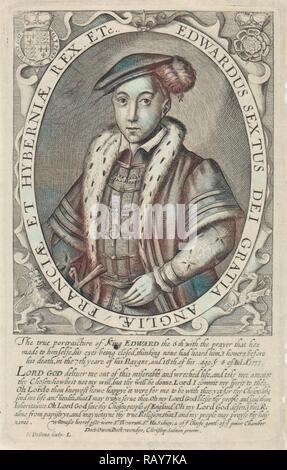Portrait d'Édouard VI, Roi d'Angleterre, Simon van de passe, 1618. Repensé par Gibon. L'art classique avec un style moderne repensé Banque D'Images