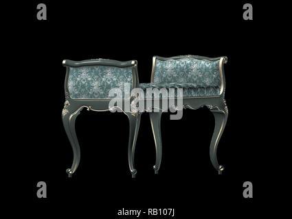 3D render of green vintage canapé Banque D'Images