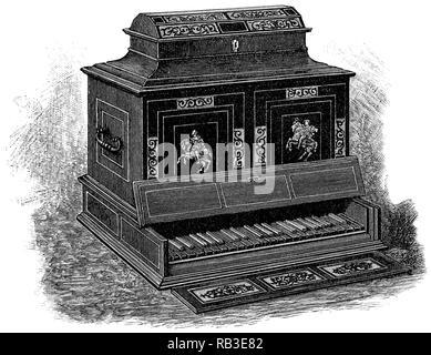 1884 gravure d'une octave en Italie dans une armoire virginal d'environ 1600. Banque D'Images