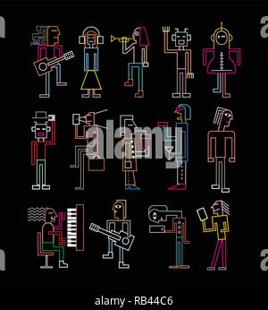 Les couleurs néon gens silhouettes isolé sur un fond noir. Vector illustration. Banque D'Images
