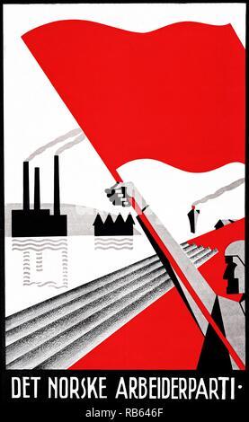 AEuThe PartyaEu affiches du travail norvégien conçu par Erling Nielsen Banque D'Images