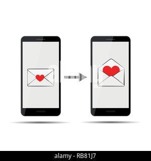 L'envoi de message d'amour via smartphone vector illustration EPS10