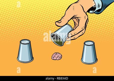 Jeu de l'esprit. Cerveau et de l'intelligence. Les fraudeurs et de tromperie. Comic cartoon retro pop art dessin illustration vectorielle Banque D'Images