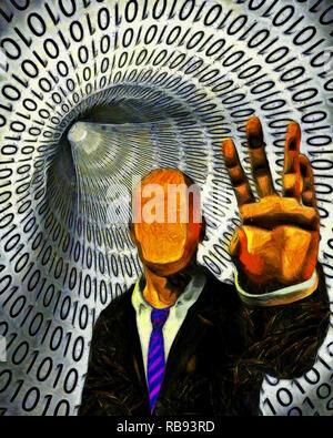 Peinture surréaliste. Faceless Man in suit met en garde. Tunnel de code binaire sur un arrière-plan. Banque D'Images