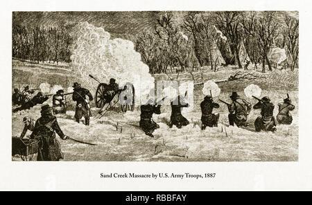 Sand Creek massacre par les troupes de l'armée américaine, 1887 Gravure Banque D'Images