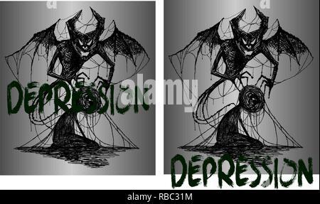L'illustration pour tatouage ou t-shirts démon et un homme empêtré dans la dépression Banque D'Images