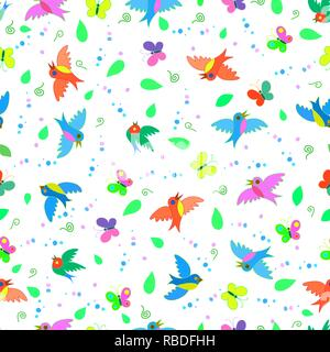 Colorful cute funny cartoon oiseaux et papillons seamless pattern d'été Banque D'Images