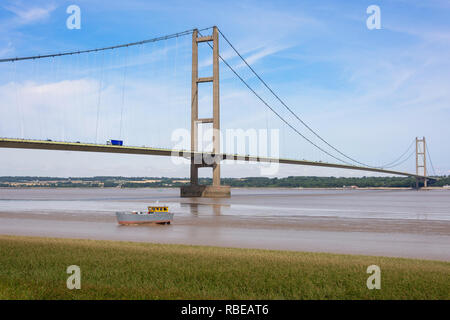 Le Humber Bridge sur la rivière Humber, Barton-upon-Humber, Lincolnshire, Angleterre, Royaume-Uni