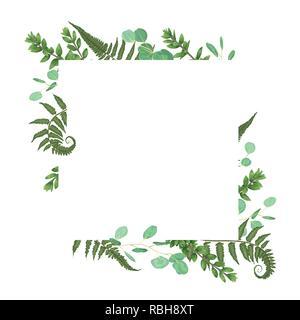 Carte Vecteur Floral Design Avec Aquarelle Vert Foret Herbes Fougeres Eucalyptus Des