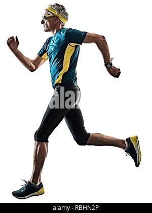 Un caucasian man running runner jogger jogger dans studio silhouette ombre isolé sur fond blanc Banque D'Images