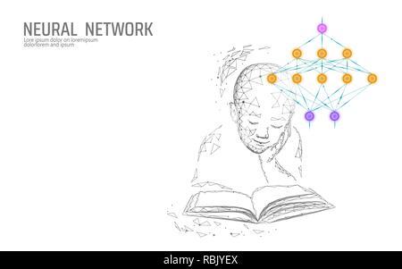 L'éducation de l'enfant concept en ligne. Réseau de neurones artificiels technologie science medicine le cloud computing. AI 3d abstrait système biologie. Illustration vecteur lumineux bleu polygonale Banque D'Images