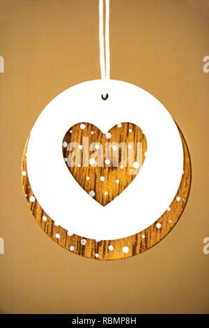 Coeur style vintage sur fond de bois rustique, l'espace de texte Banque D'Images
