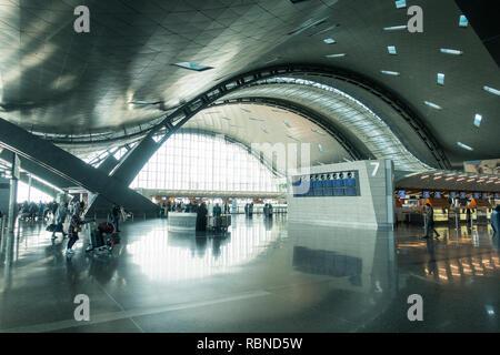 Intérieur de l'aérogare de l'Aéroport International Hamad nouveau à Doha, Qatar