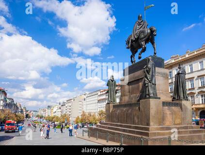 Statue de Prague Wenceslas Monument St Venceslas Wenceslas square Prague République Tchèque Europe Banque D'Images