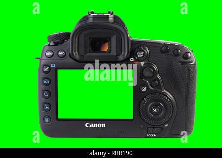 Canon 5D MARK IV de l'arrière de l'appareil photo reflex numérique isolé sur fond vert. Banque D'Images