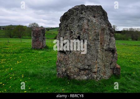 Stanton Drew stone circles. Il y a trois cercles en pierre près du village de Stanton Drew dans le Somerset. Le Grand Cercle, à 113 mètres de diamètre. Banque D'Images