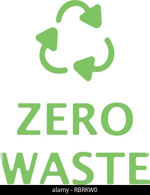 Zéro déchets texte avec green recycling sign isolé sur fond blanc. Enfouissement zéro style télévision concept illustration