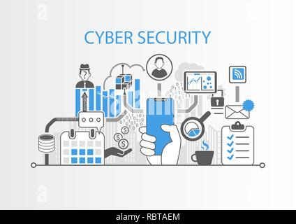 Cyber security concept with hand holding cadre moderne smart phone gratuit Banque D'Images