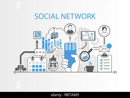 Social network concept with hand holding cadre moderne smart phone gratuit Banque D'Images