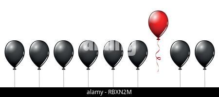 Ballon rouge voler loin de ballons noirs sur fond blanc différents concept design vector illustration EPS10 Banque D'Images