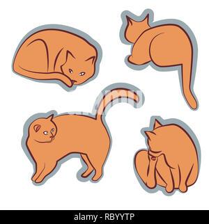 Clipart Orange poses différentes cat Banque D'Images