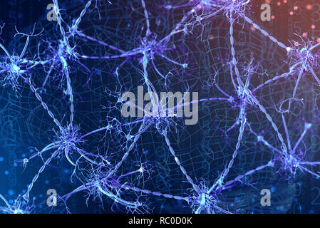 3d illustration d'un neurone numérique et réseaux de neurones. Le concept de l'intelligence artificielle Banque D'Images